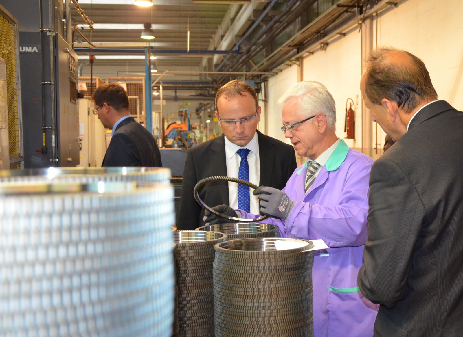Minister Radovan Žerjav, Msc and Jakob Presečnik, vice-president of the parliament of Republic of Slovenija visiting the production fascility of KLS